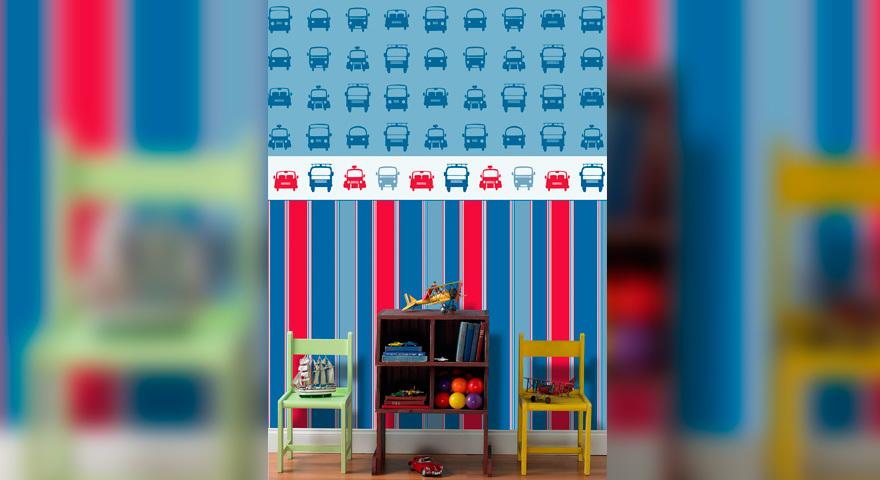 Quarto infantil para menino com papel de parede