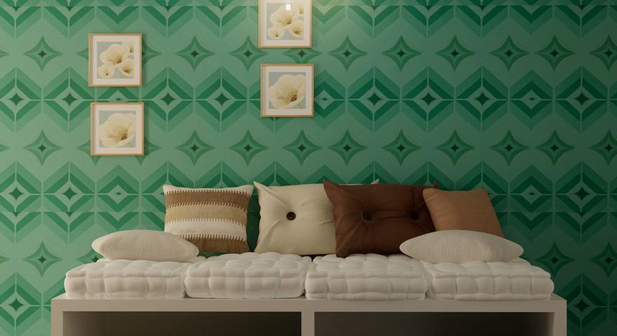 Sala com papel de parede abstrato