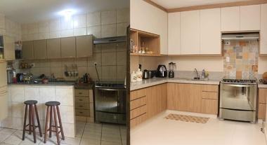 Antes e depois de uma cozinha antiga que rejuvenesceu algumas décadas pós-reforma