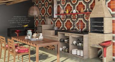 Área com fogão à lenha com forno