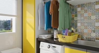 Área de serviço pequena com armários planejados