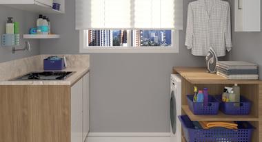 Área de serviço planejada com armários, prateleiras e mesas