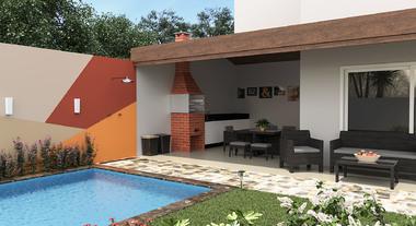 Área externa com tinta e telhado embutido