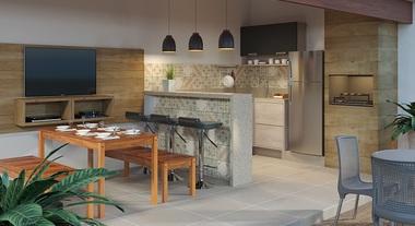 Área externa com varanda gourmet e churrasqueira