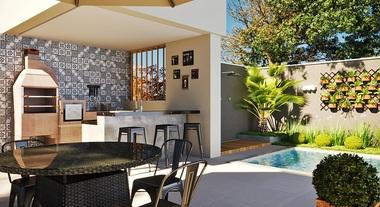 Área externa gourmet com piscina e churrasqueira