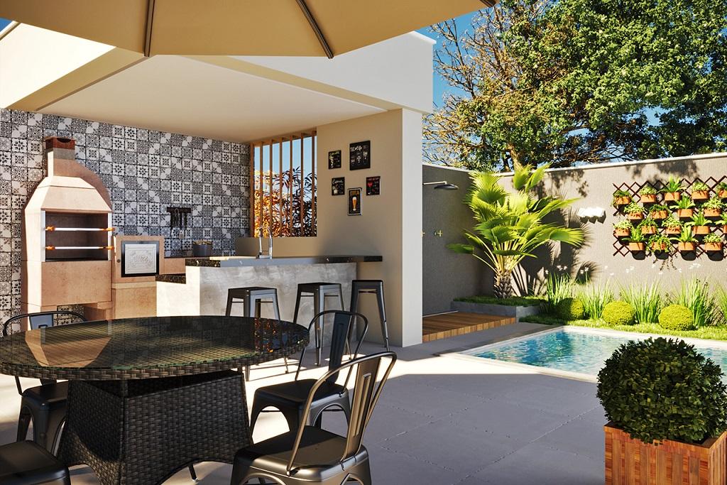 Área externa gourmet com piscina e churrasqueira Leroy Merlin -> Decoracao De Area Externa Com Piscina