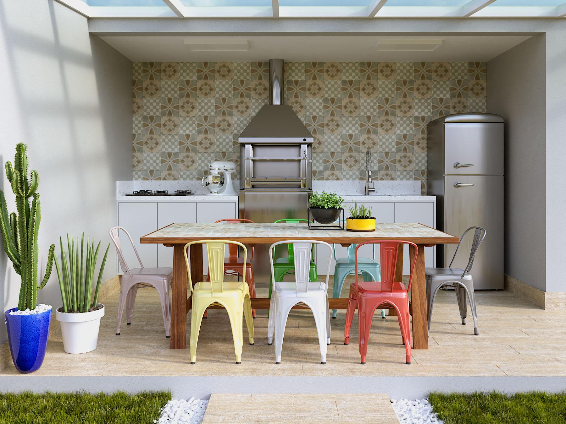 Área externa para conveni u00eancia com churrasqueira Leroy Merlin -> Decoração Para Area Externa Churrasqueira