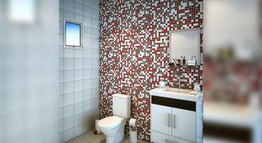 Banheiro com gabinete