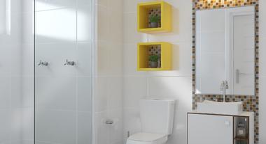 Banheiro com nichos pequeno