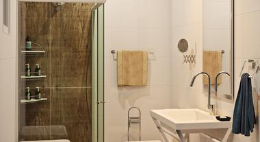 Banheiro de casal com piso estampado