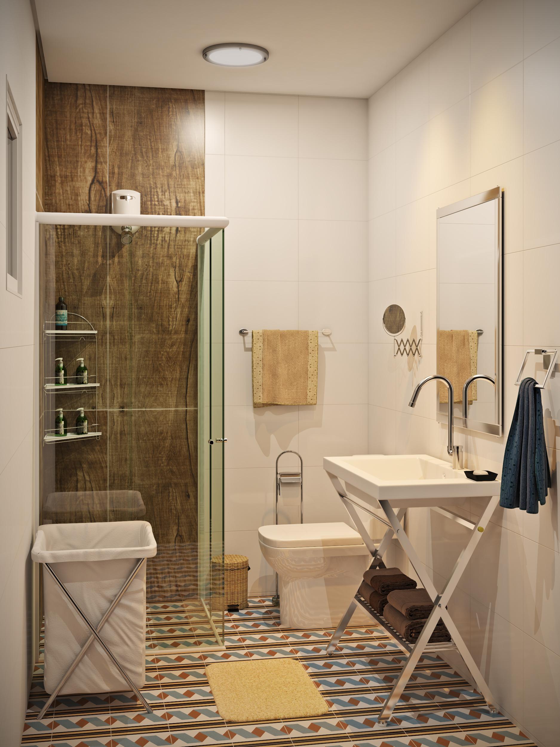 Banheiro de casal com piso estampado leroy merlin - Amueblar piso pequeno barato ...