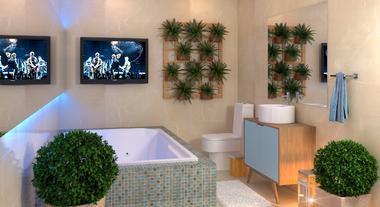 Banheiro de Casal Decorado com Jardim Vertical