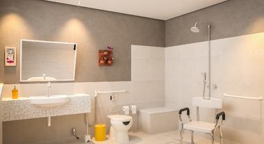 Banheiro grande adaptado