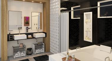 Banheiro grande com elemento vazado