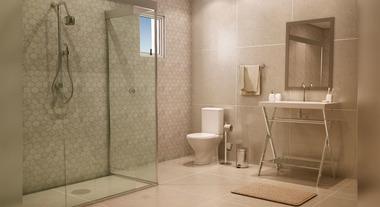 Banheiro grande com porcelanato