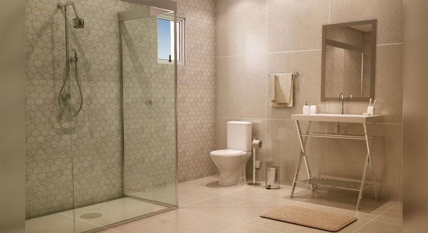 banheiro grande com porcelanato leroy merlin. Black Bedroom Furniture Sets. Home Design Ideas
