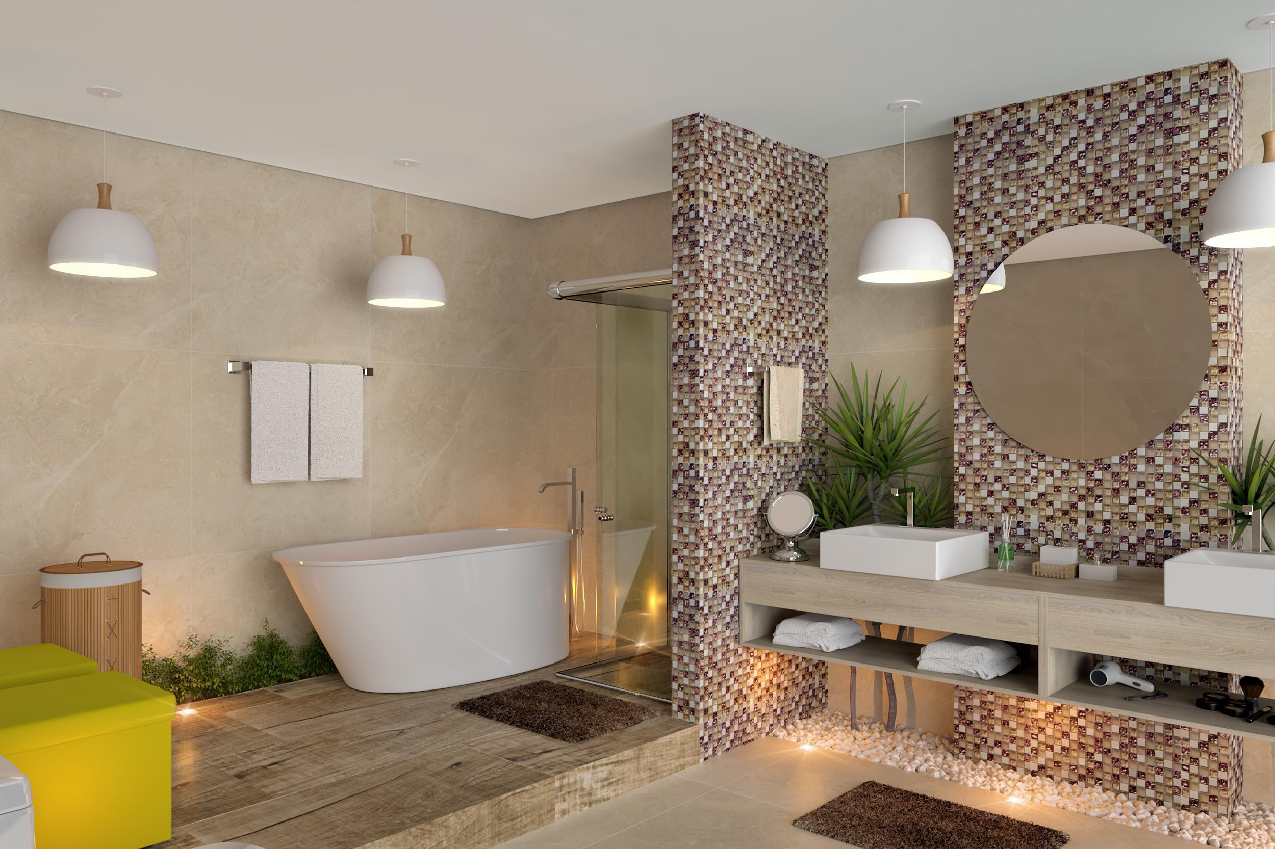 Banheiro grande e moderno - Piso pequeno moderno ...