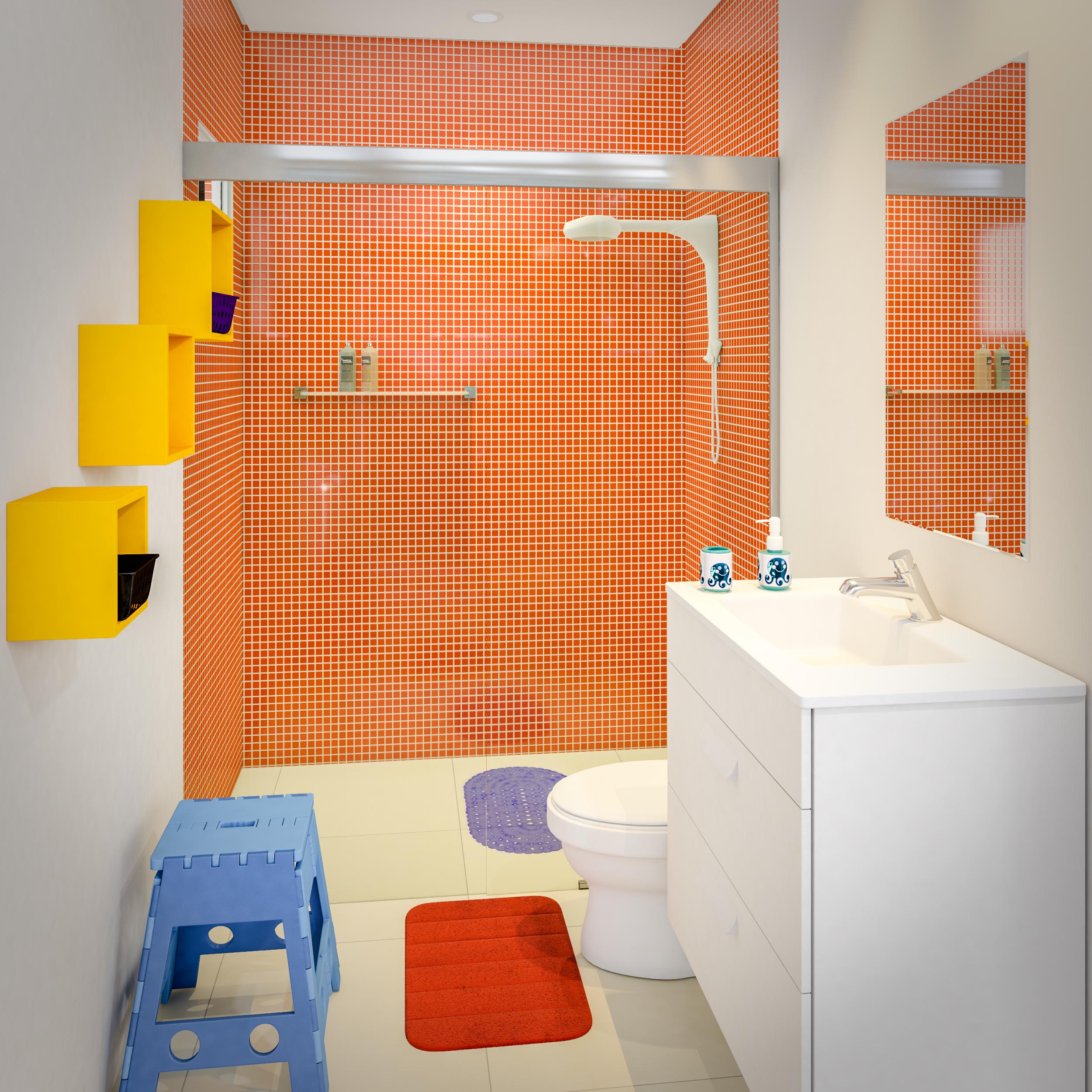 Banheiro infantil simples e pequeno Leroy Merlin -> Decoração De Banheiro Simples E Pequeno