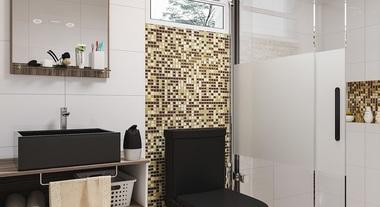Banheiro pequeno com porcelanato e pastilha