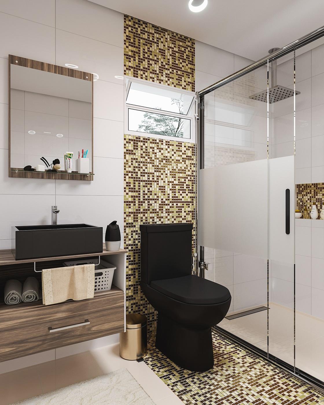 Banheiro pequeno com porcelanato e pastilha leroy merlin for Imagenes de pisos decorados