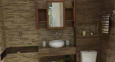 Banheiro pequeno com revestimento