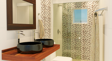 Banheiro pequeno e neutro para casal