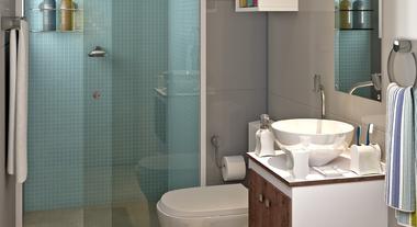 Banheiro Pequeno e Simples Decorado com Pastilha