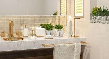 Banheiro sofisticado com estilo gold