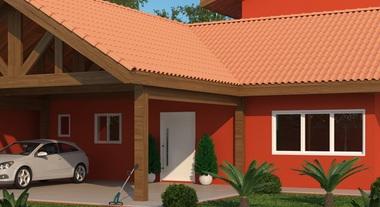 Casa externa com telhado