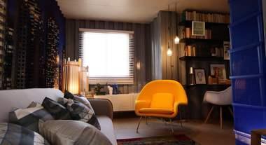 Casa Viva: escritório integrado com a sala de estar