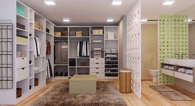 Closet grande com banheiro e cobogó