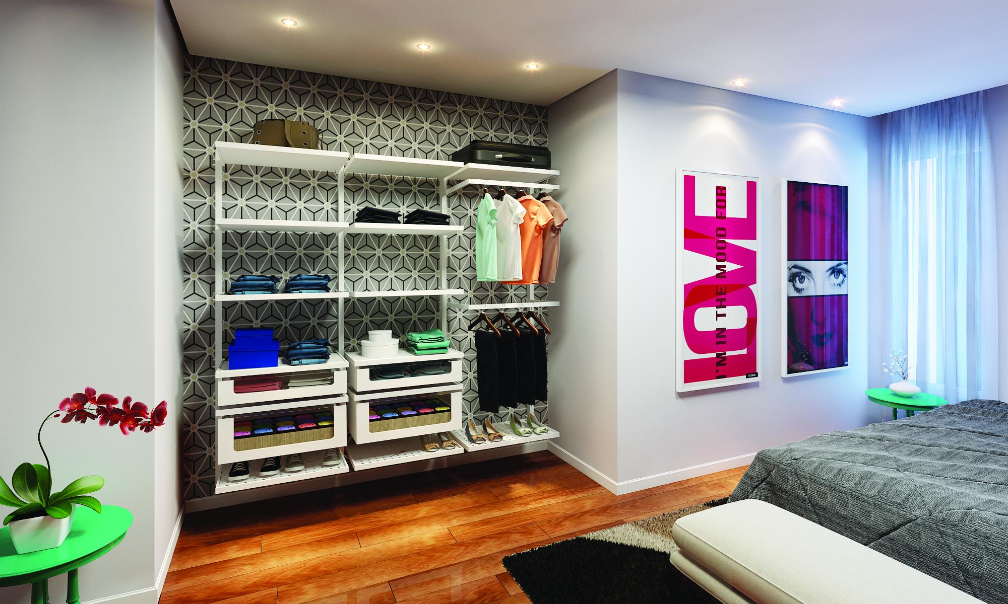 Fotos De Closets Inspire Se Leroy Merlin ~ Decoração Quarto Casal Com Closet