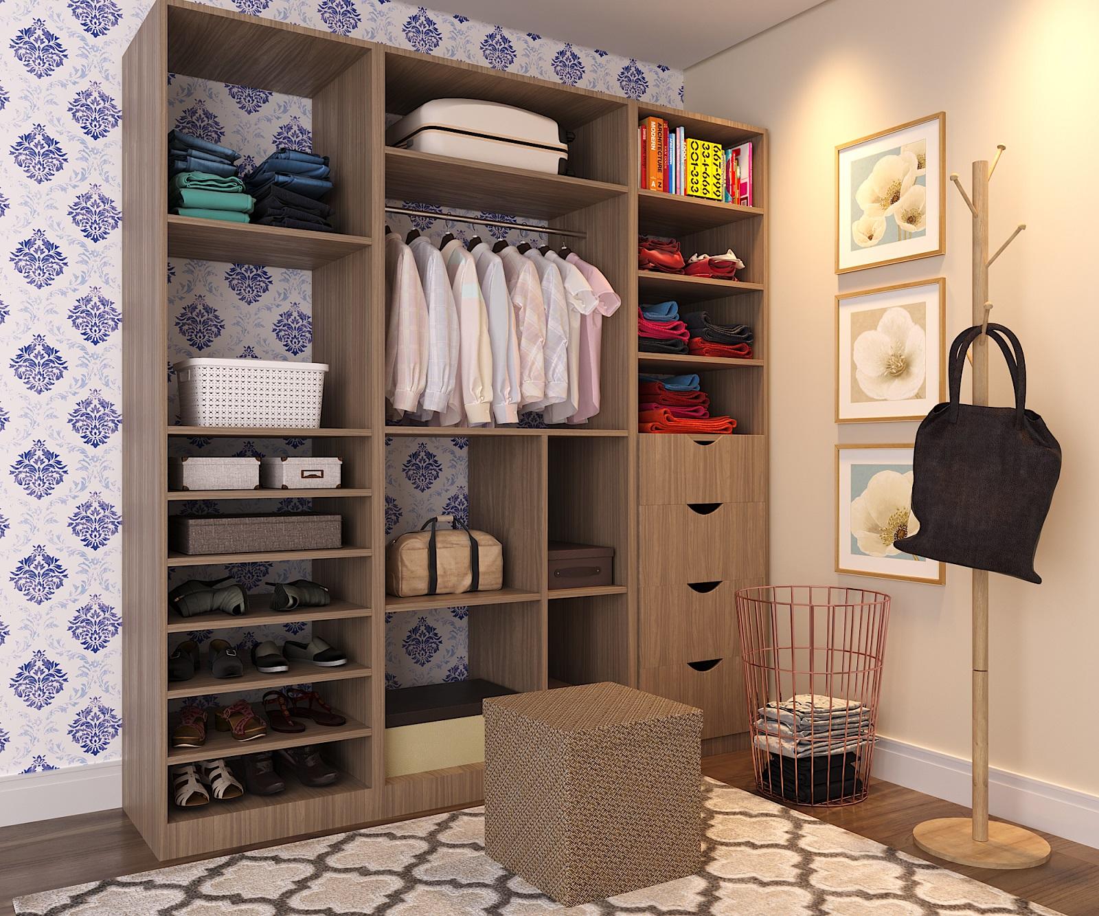 Closet pequeno com papel de parede e tapete leroy merlin for Ideas para closets pequenos