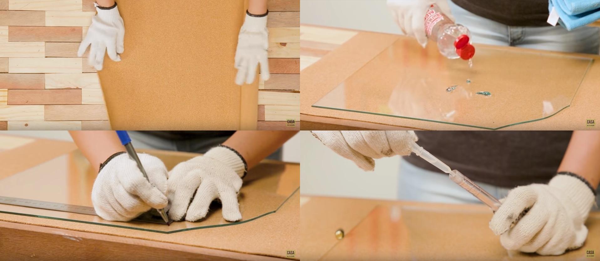 Apoio do vidro sobre cortiça, seguida de imagem de limpeza e marcação do vidro, e adição de querosene na ferramenta de corte de vidro