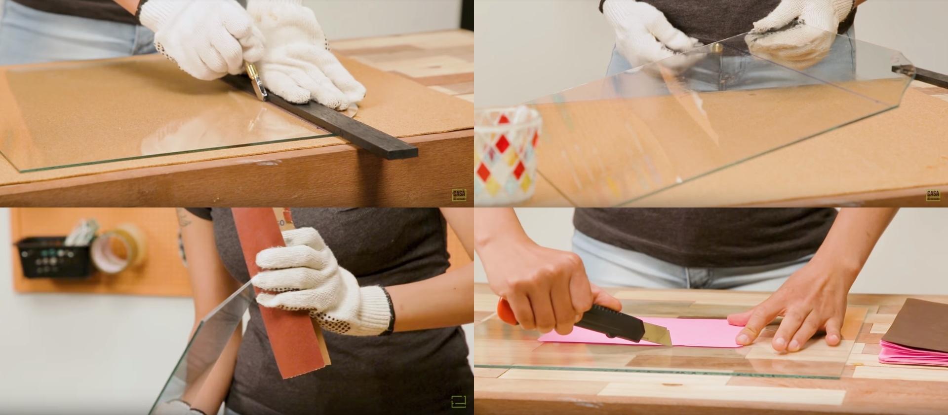 Vidro sendo cortado, separação das partes cortadas, vidro sendo lixado para descartar partículas pontiagudas e, por fim, vidro sendo usado como base de corte para outros materiais
