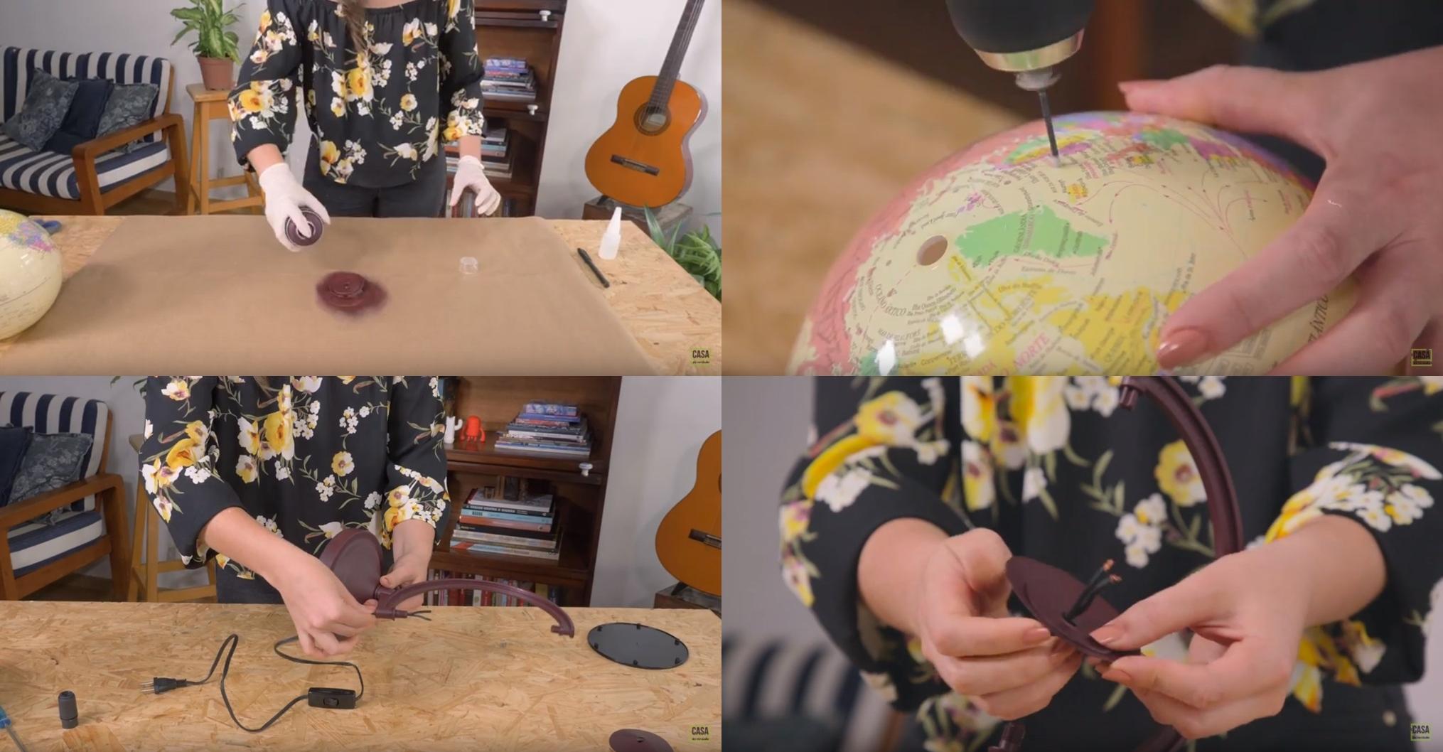 Pintando os círculos colados, furando o globo, passando o fio pela haste e passando os círculos pintados pelo fio.