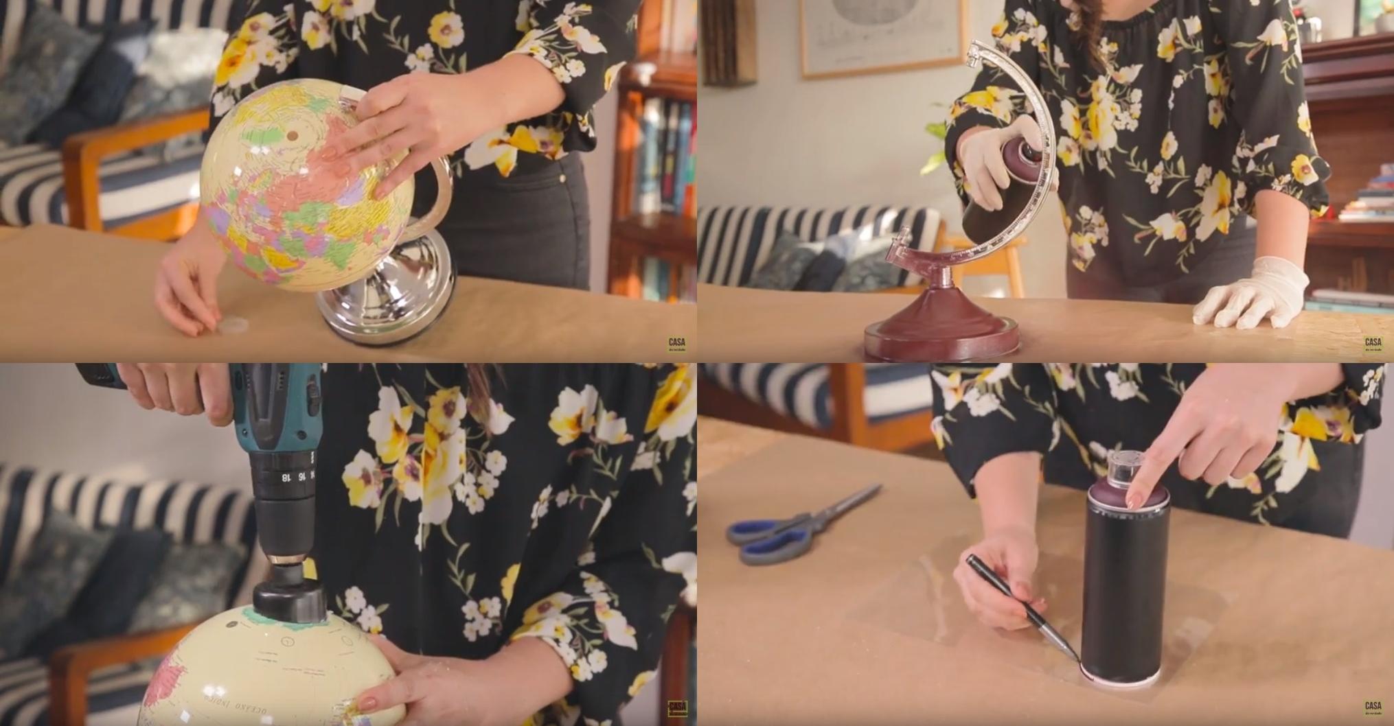 Desmontando o globo terrestre; pintando a haste do globo; furando o globo com uma serra copo; fazendo um molde com a tampinha em acetato