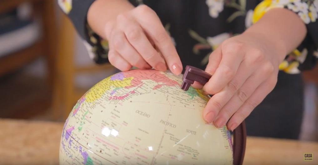 Recolocando o globo na haste