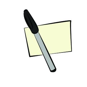 Etiqueta adesiva e caneta