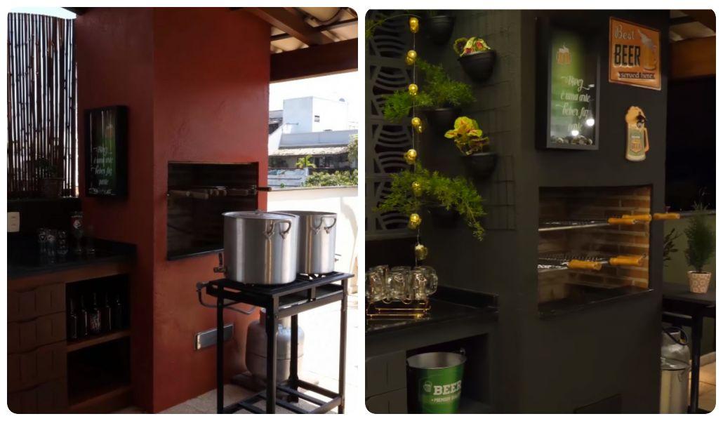 """Duas fotos comparativas """"antes e depois"""": uma com a churrasqueira laranja """"terrosa"""" e outra de cor cinza"""