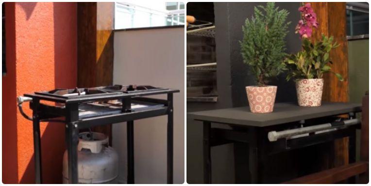 """Duas fotos de """"antes e depois"""": na primeira, um fogareiro simples; na segunda, o fogareiro é transformado em uma mesa com plantas em cima"""