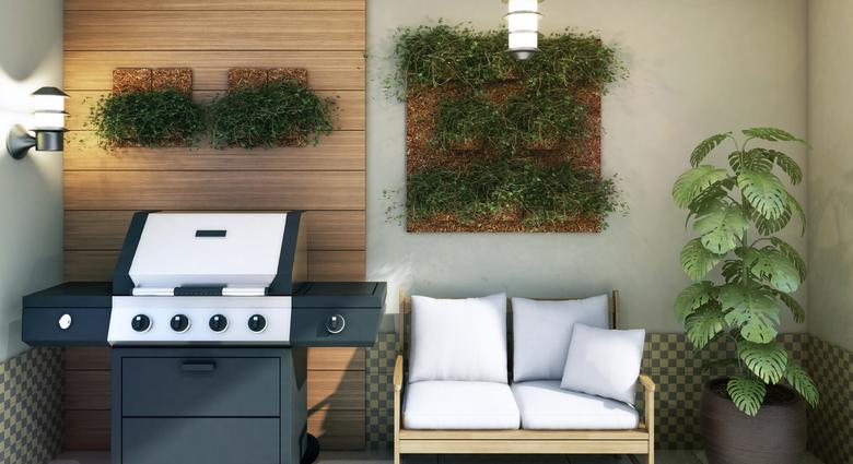 Varanda goourmet com jardim vertical