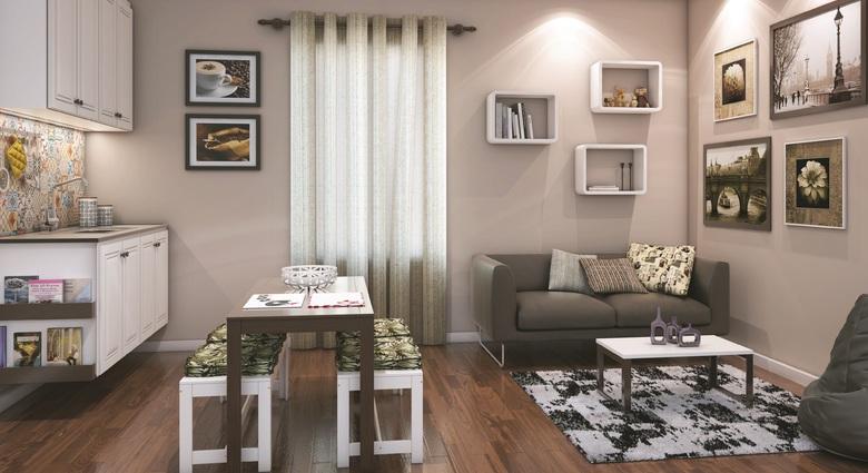 Sala, sala de jantar e cozinha integradas