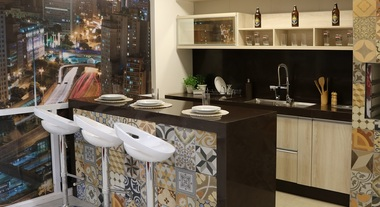 Cozinha americana decorada com azulejos