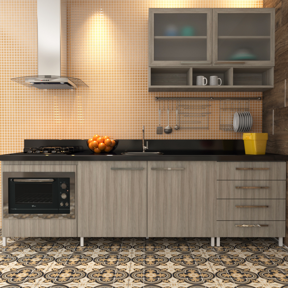 Cozinha Com Pastilhas Em Tons De Laranja Leroy Merlin ~ Pastilha Cozinha Americana