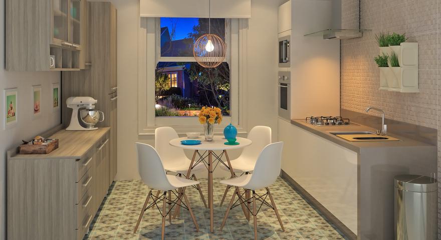 Cozinha simples pequena branca com revestimento de parede - Tegola americana leroy merlin ...
