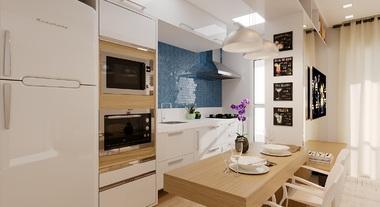 Cozinha compacta com balcão para refeição