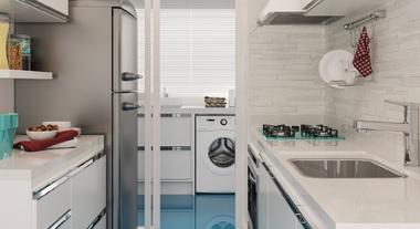 Cozinha compacta com porcelanato liquido