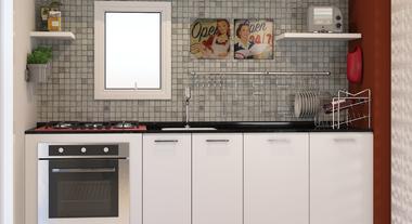 Cozinha compacta decorada com pastilhas