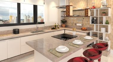 Cozinha de apartamento com decoração moderna